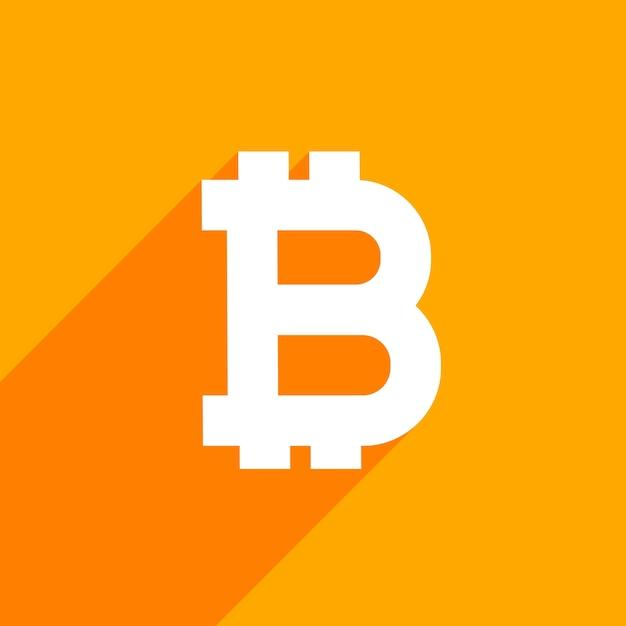 Bitcoin symbool op oranje achtergrond Gratis Vector