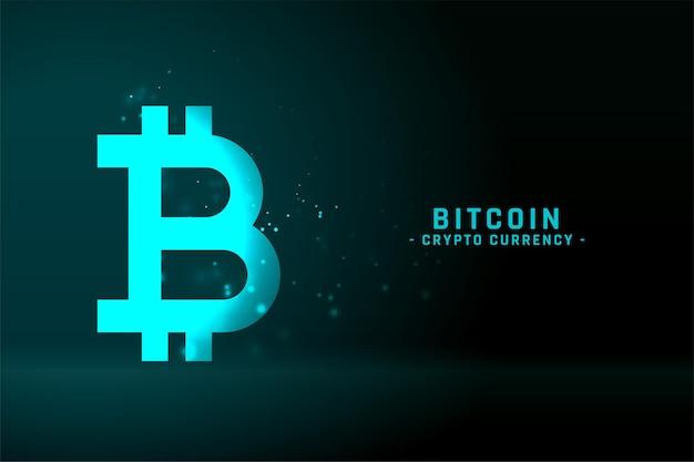 Bitcoin-technologieachtergrond in gloeiende blauwe kleur Gratis Vector