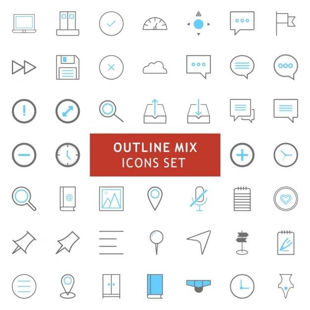 Black and blue outline mix iconen set Gratis Vector