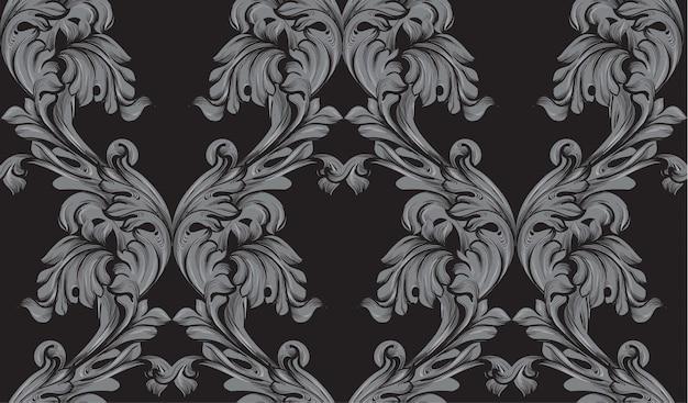 Black damask pattern vector ornament decor. barokke achtergrondtexturen Premium Vector
