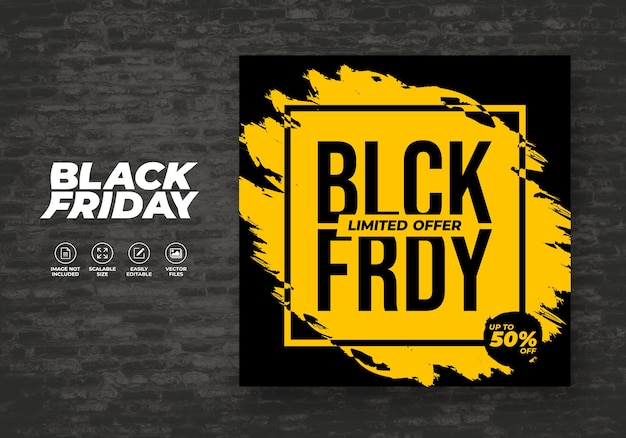 Black friday achtergrond promo voor sociale media post feed korting banner sjabloon Premium Vector