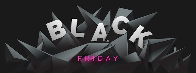 Black friday-banner met abstracte zwarte kristalachtergrond. Premium Vector