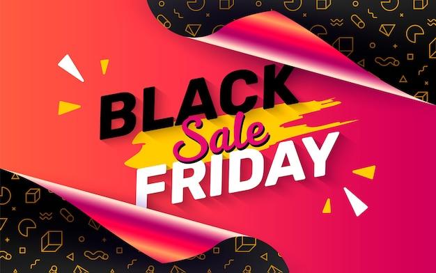 Black friday-banner met open cadeaupapier Gratis Vector