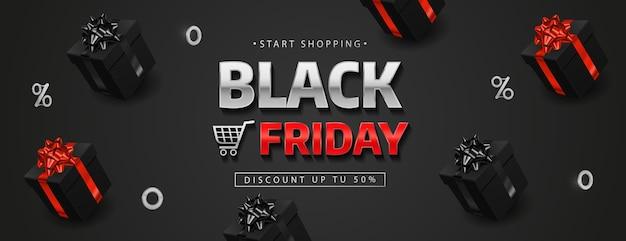 Black friday-banner met realistische zwarte geschenkdozen. Premium Vector