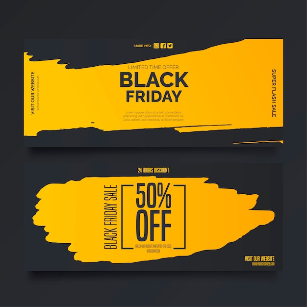 Black friday-banners in gele en zwarte kleuren Gratis Vector