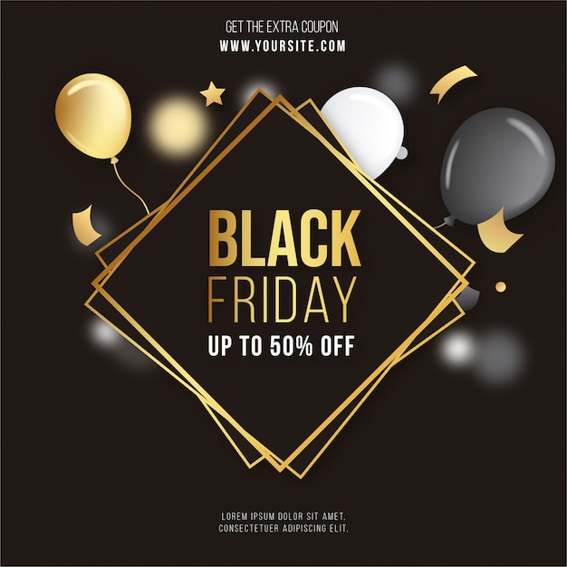 Black Friday Golden Frame met confetti en ballonnen Gratis Vector