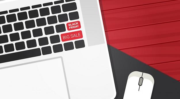 Black friday grote verkoop tekst op laptop toetsenbord knoppen winkelen kortingen Premium Vector