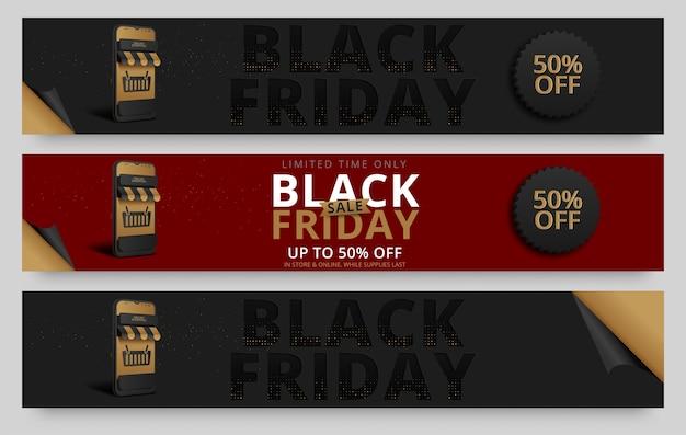 Black friday horizontale banners set Premium Vector