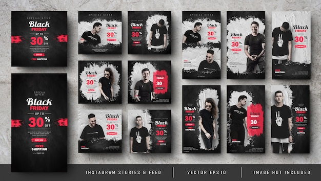 Black friday instagram-verhalen en square banner-set Premium Vector
