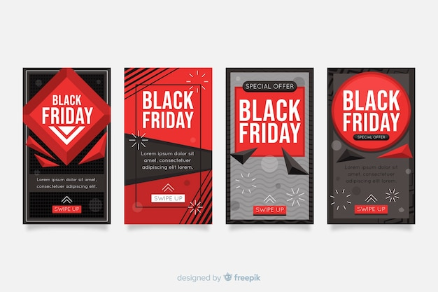 Black friday instagram-verhalencollectie Gratis Vector