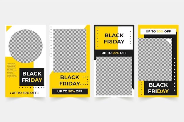 Black friday instagram-verhalencollectie Gratis Vector
