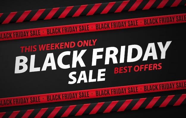 Black friday-kortingsbanner, advertentie met het opschrift alleen dit weekend de beste aanbiedingen. Premium Vector