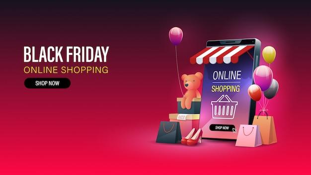Black friday online winkelen banner. online winkelen op mobiele telefoon en website. banier Premium Vector