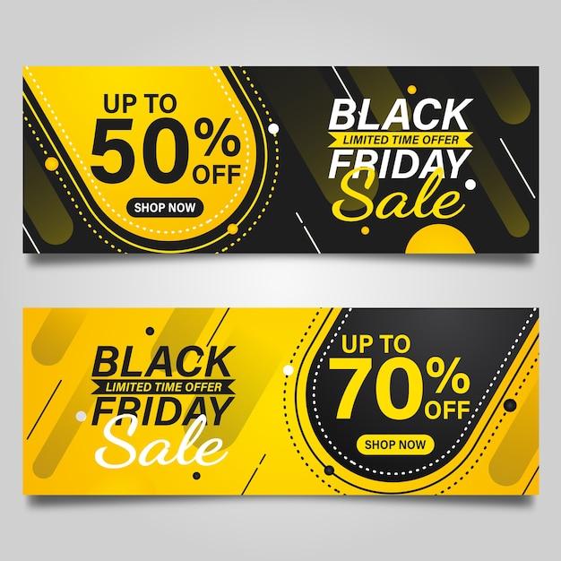 Black friday-ontwerpsjabloon voor spandoek op zwarte en gele kleuren Premium Vector