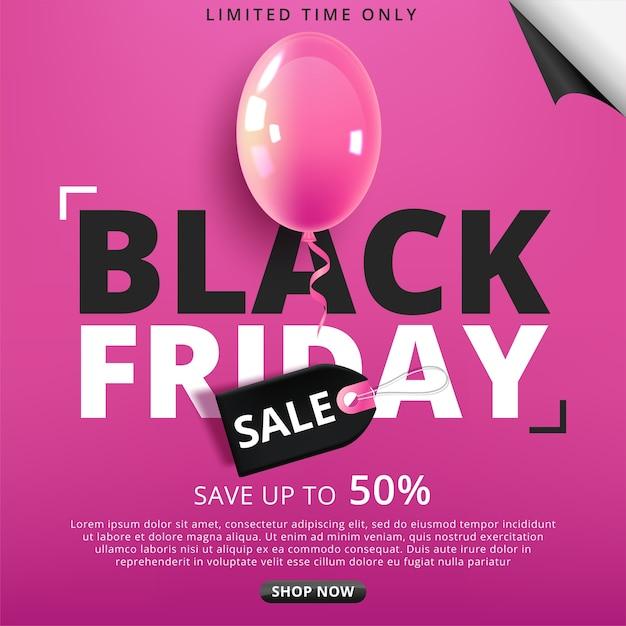 Black friday-poster met glanzende ballonnen Premium Vector