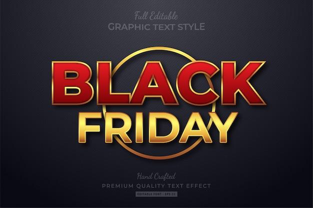 Black friday red gold bewerkbaar tekststijleffect Premium Vector