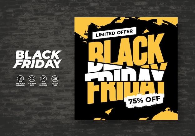 Black friday sale flat design banner sjabloon Premium Vector