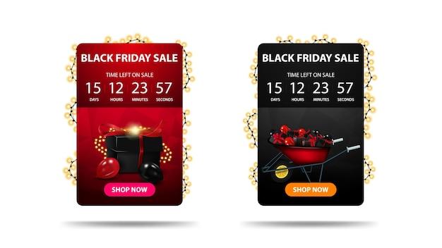 Black friday sale, kortingsbanner met afteltimer tot het einde van de actie, knop, pictogram en slinger Premium Vector