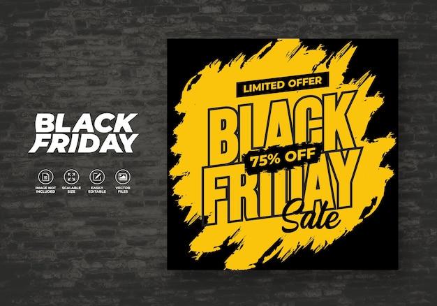 Black friday social media post feed achtergrond korting banner sjabloon Premium Vector