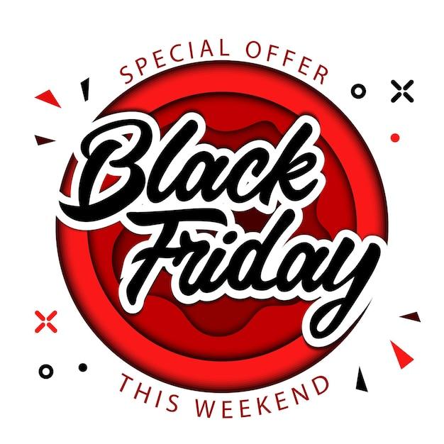 Black friday, speciale aanbieding alleen dit weekend, superuitverkoop op black friday-concept Premium Vector