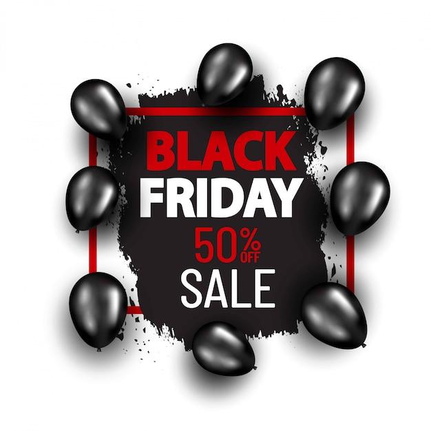 Black friday-speciale aanbiedingbanner met zwarte ballons. winkelen banner concept Premium Vector