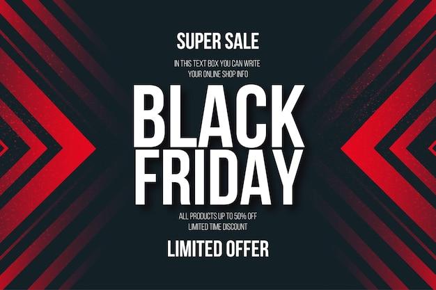 Black friday super sale banner met abstracte rode vormen achtergrond Gratis Vector