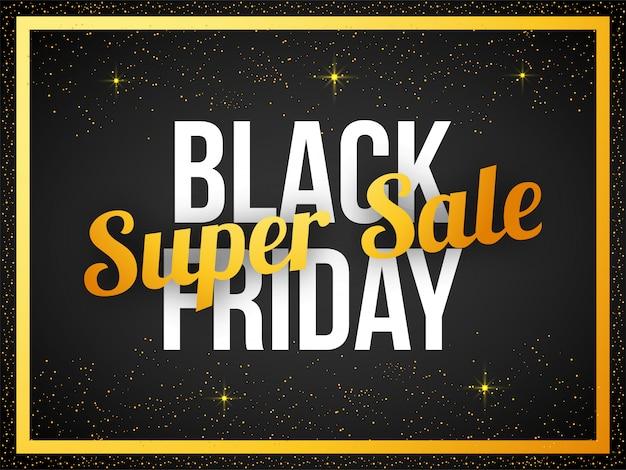 Black friday super sale-tekstbanner Premium Vector