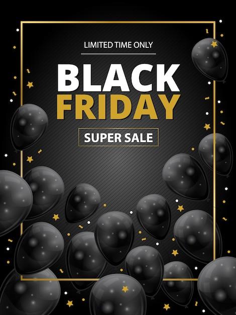 Black friday-superverkoopsjabloon met zwarte ballons en gouden sterren Premium Vector