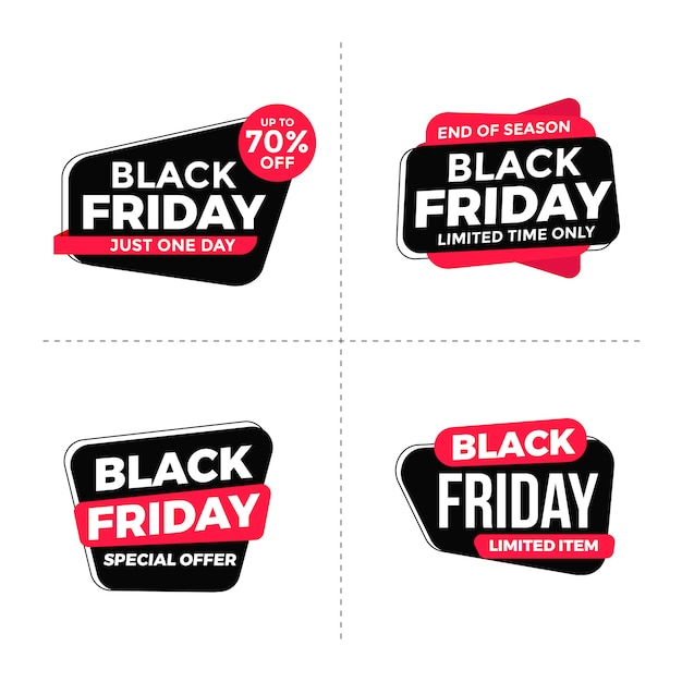 Black friday-tags collectie Premium Vector