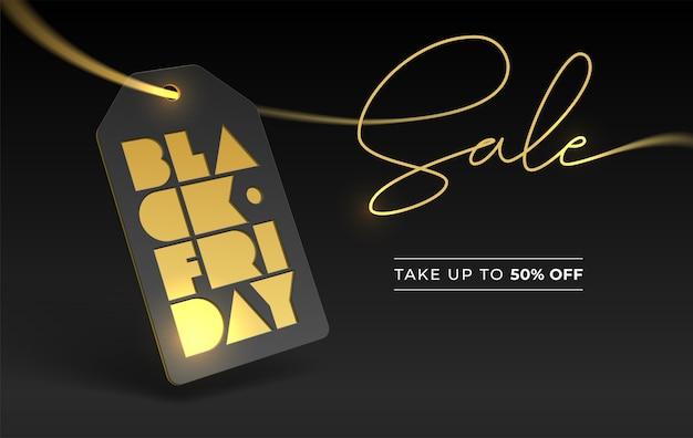 Black friday typografie en prijskaartje, goudfolie boekdruk. korting 50 vijftig procent. bannerbelettering voor online en offline zaken Premium Vector
