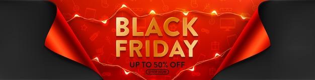 Black friday-uitverkoop 50% korting op poster met led-lichtslingers voor detailhandel Premium Vector