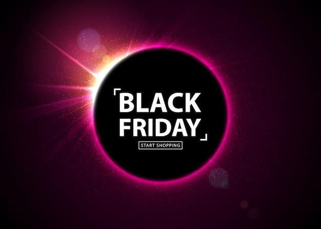 Black friday-uitverkoop. gloeiende banner met lichte flits Premium Vector