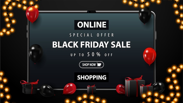 Black friday-uitverkoop, online winkelen, tot 50% korting, zwarte kortingsbanner met rode en zwarte ballonnen, cadeautjes en tablet met aanbieding op scherm Premium Vector