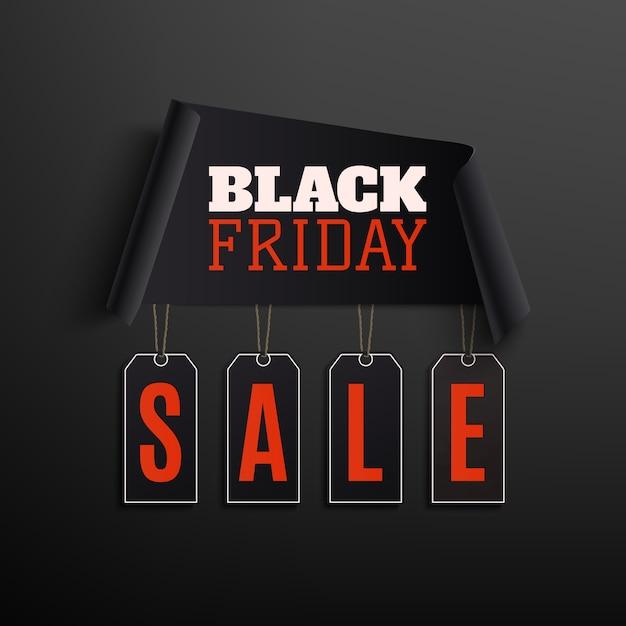 Black friday-verkoop abstract ontwerp. gebogen papier banner met prijskaartjes geïsoleerd op zwarte achtergrond. Premium Vector
