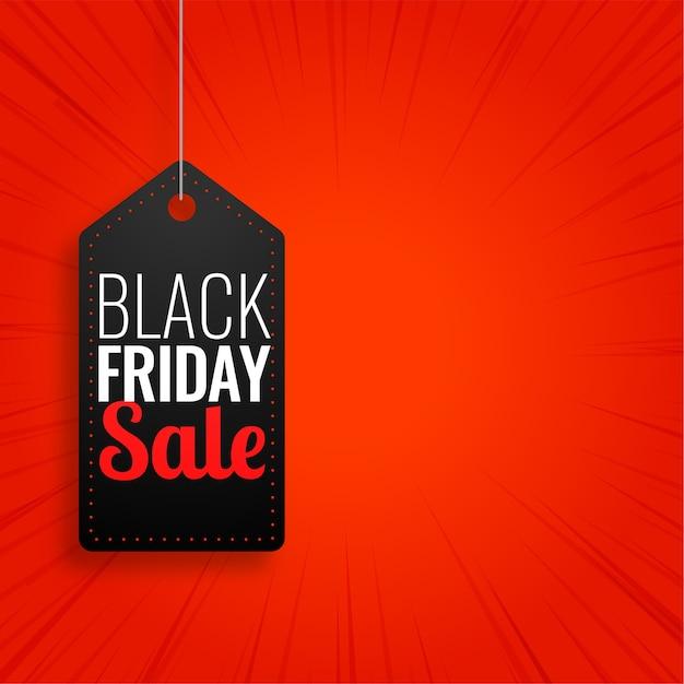Black friday-verkoop hangende markering op rode achtergrond Gratis Vector