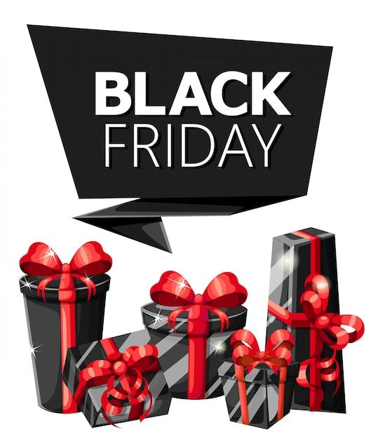 Black friday verkoop inscriptie sjabloon. zwarte vrijdag . illustratie verkoop poster met glanzende ballonnen vierkant frame website-pagina en mobiele app. Premium Vector