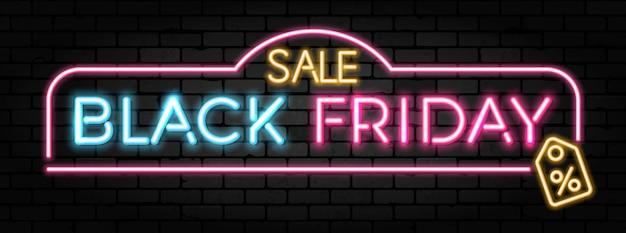 Black friday-verkoop neonbanner met uithangbord voor blackfriday-verkoop op brickwall-textuur Premium Vector