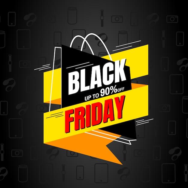 Black friday verkoop ontwerpsjabloon. bannertag. Premium Vector