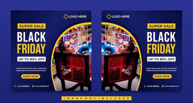 Black friday-verkoop sociale media-sjabloon voor spandoek met blauwe sjabloon Premium Vector
