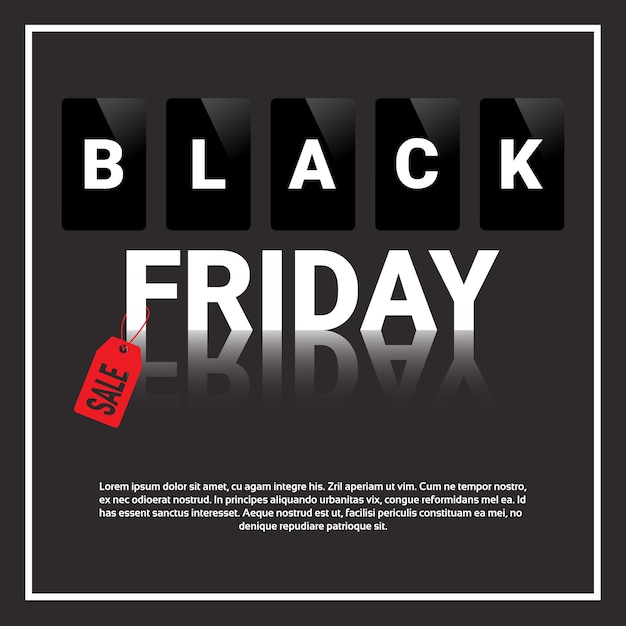 Black friday-verkoop, speciale aanbieding vierkante banner met tekstsjabloon Premium Vector