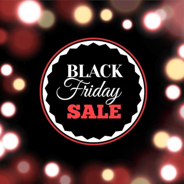 Black friday-verkoopaffiche in realistische stijl omvat achtergrond met lichten Premium Vector