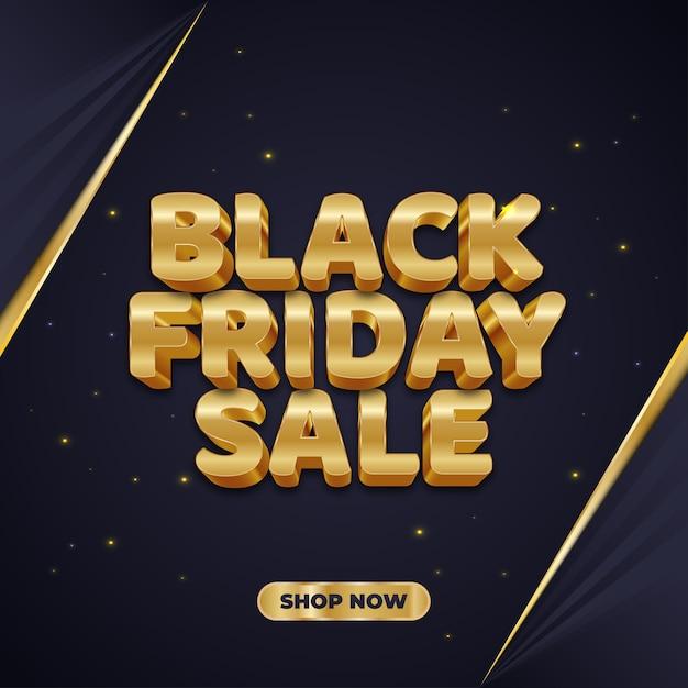 Black friday-verkoopbanner met 3d gouden tekst Premium Vector
