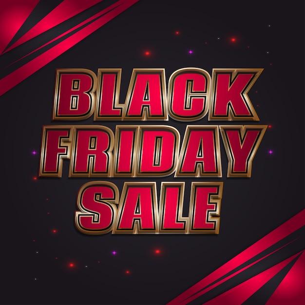 Black friday-verkoopbanner met 3d rode en gouden tekst Premium Vector