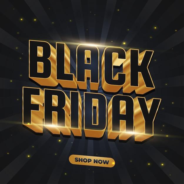 Black friday-verkoopbanner met 3d zwarte en gouden tekst Premium Vector