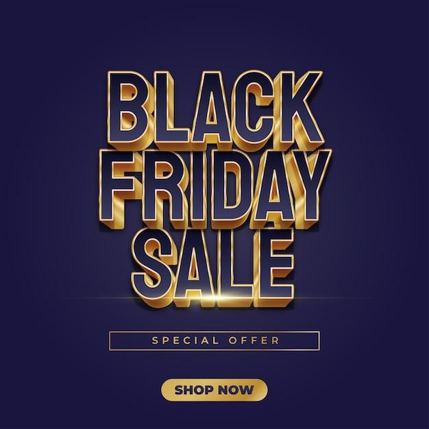 Black friday-verkoopbanner met blauwe en gouden tekst in elegante stijl Premium Vector
