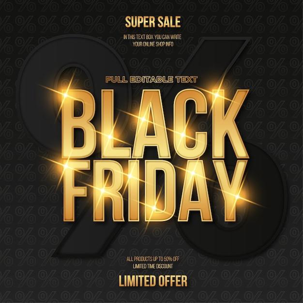 Black friday-verkoopbanner met gouden teksteffect Gratis Vector