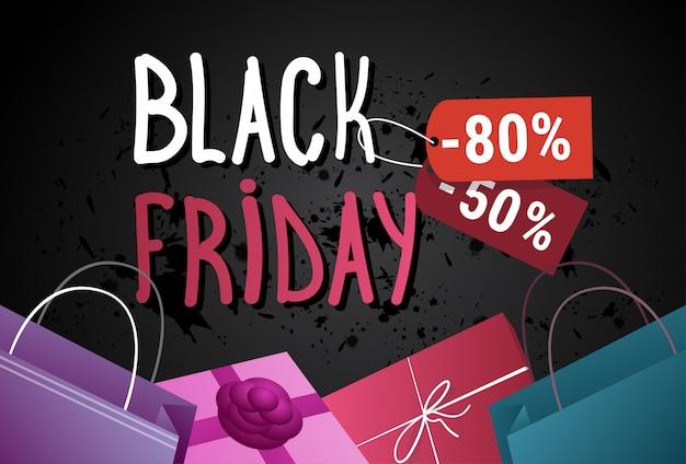 Black friday-verkoopbanner met het winkelen zakken en huidige dozen op achtergrond de afficheconcept van de achtergrondvakantiekorting Premium Vector