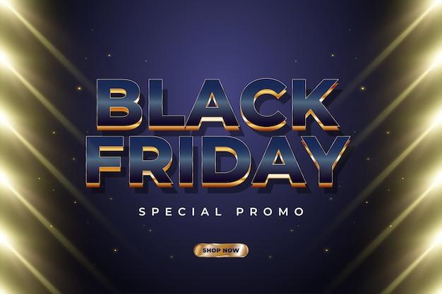 Black friday-verkoopbanner met luxetekst en gloeiend gouden licht Premium Vector