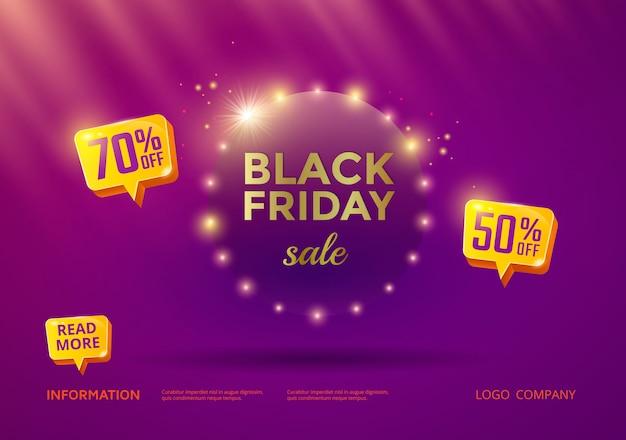 Black friday-verkoopbanner met purpere achtergrond en gouden teksten. Premium Vector