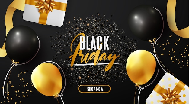 Black friday-verkoopbanner met realistische elementen moden Gratis Vector